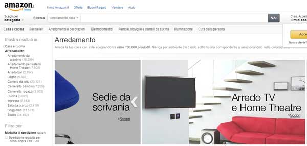 Amazon si apre all arredamento di alta gamma pambianco for Sito arredamento design