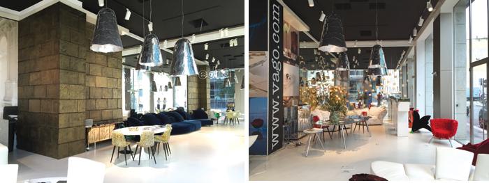 Lo spazio di Edra nello showroom di Vago Forniture e lo showroom milanese di Vago Forniture