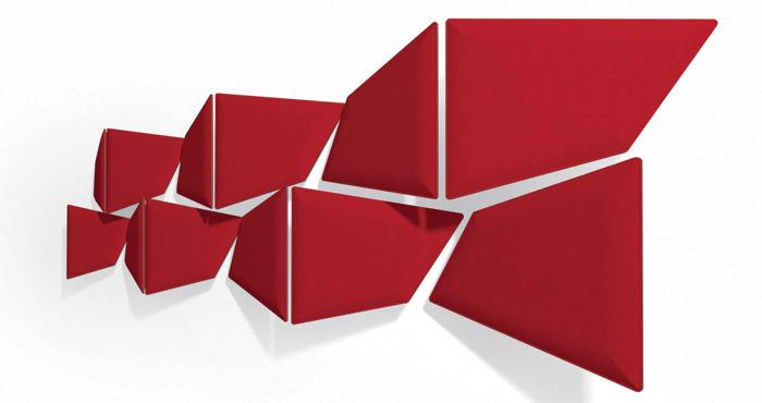 Il pannello fonoassorbente Flap di Caimi Brevetti è integralmente riciclabile perché è realizzato con componenti monomaterici e facilmente disassemblabili