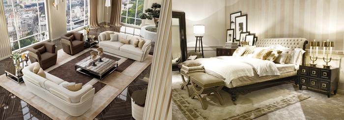 Zona living della collezione Blanche di Turri e Ambiantato del nuovo lifestyle di Gianfranco Ferrè Home