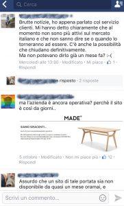 Alcuni dei commenti sulla pagina Facebook di Made.com