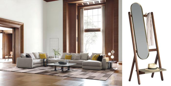 Divano Liam Trussardi Casa design Carlo Colombo e Ren, appendiabiti con specchio design Neri&Hu per Frau