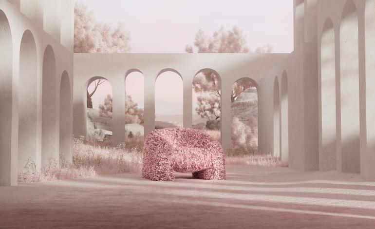 Moooi cura la realizzazione della Hortensia Armchair di Andrés Reisinger & Júlia Esqué
