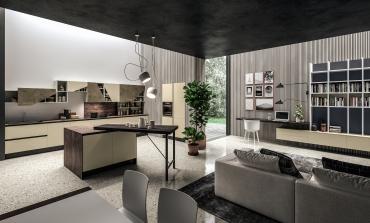 Aran cucine propone l'home office tra cucina e living