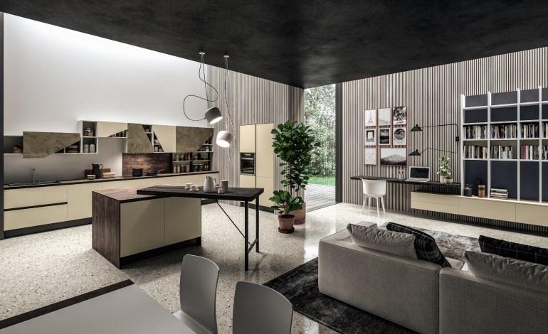 Aran cucine propone l'home office tra cucina e living
